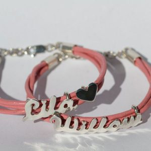 Cut out name leather bangle