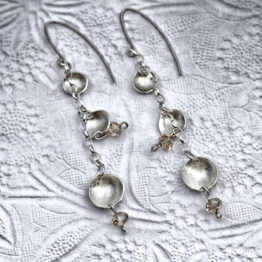 dangling circle earrings with crystals