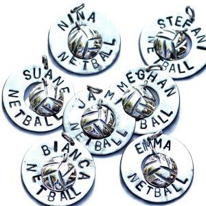 Netball round pendant