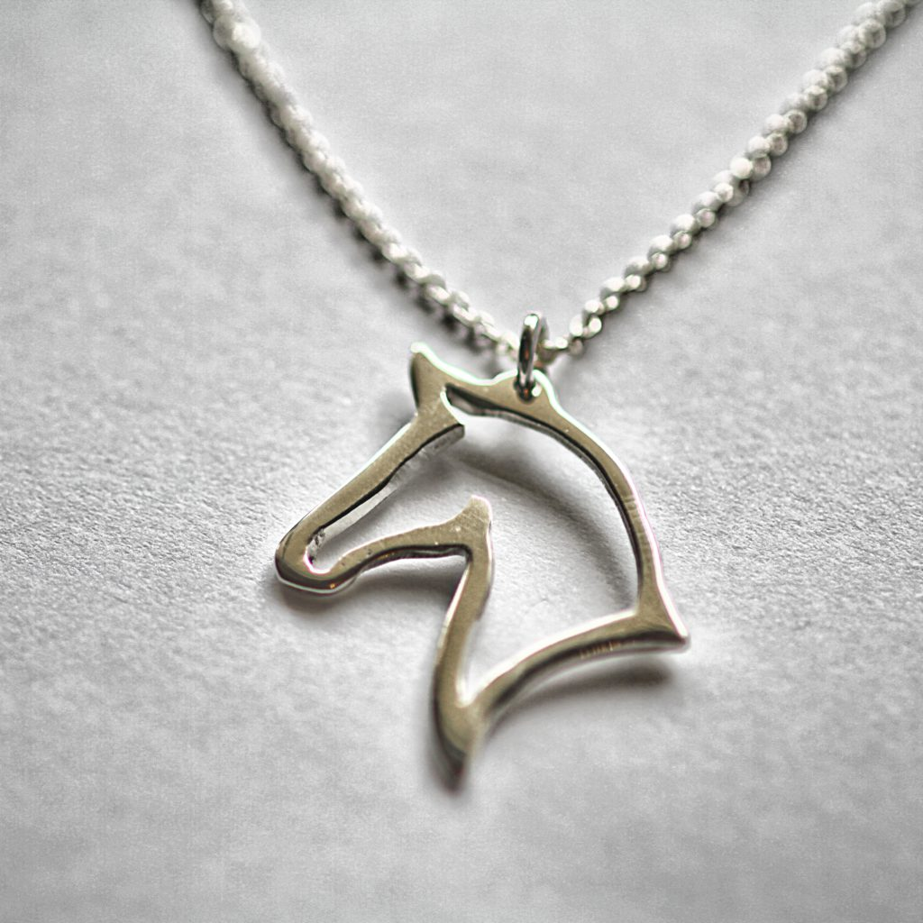 Silhouette Earrings: Sterling Silver Silhouette Horse On Pendant And Matching