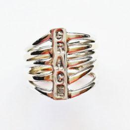 silver rib cage ring